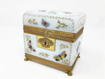 An Antique Baccarat 24k Gold White Opalescent Covered Box