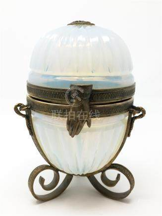 A 19th French Antique Baccarat White Opalescent Box