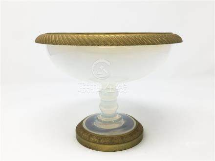 A 19th French Baccarat Opaline Dore Bronze Footed Bowl
