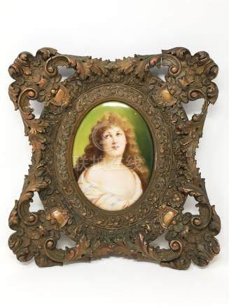 An Antique K.P.M. Porcelain Plaque And Original Frame
