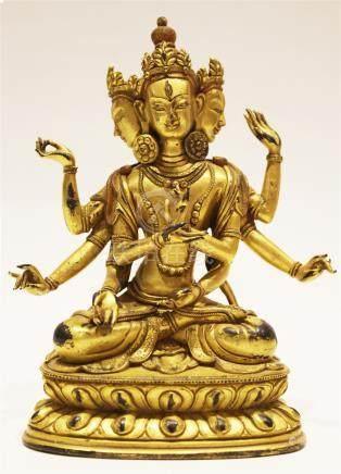 A Gilt-Bronze Figure Of Usnisavijaya