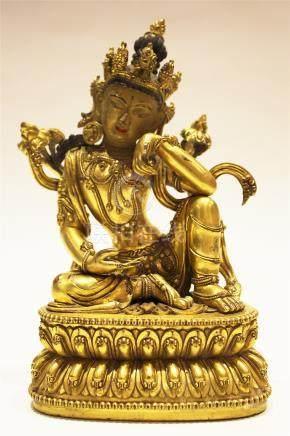 A Gilt-Bronze Figure Of Water Moon Guanyin