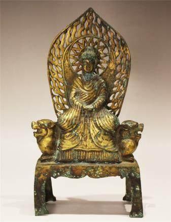 A Gilt-Bronze Sitting Figure Of Buddha