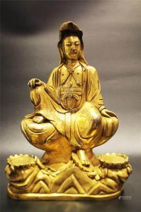 A Gilt-Bronze Sitting Figure Of Buddha Guanyin
