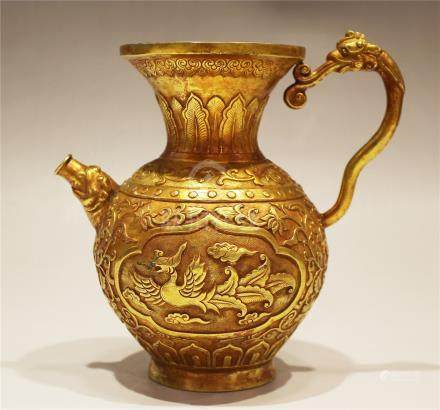 A Bronze 'Phoenix' Vase With 'Dragon' Handle