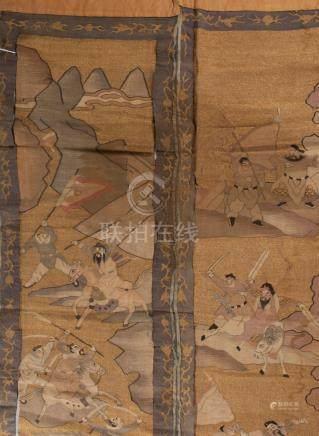 Chine, XVIIIème siècle. Deux panneaux brodés sur soie kesi rehaussés de fils d'