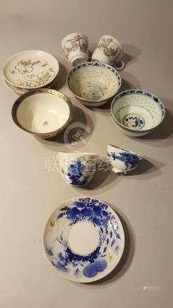 CHINE ET JAPON. XIX et XXème siècle. Lot de porcelaines émaillées polychromes o