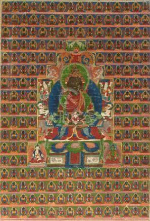 AMITAYUS TIBET CA 18°-19° SIÈCLE Détrempe sur toile. 82 x 57 cmLe souverain de