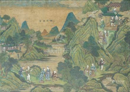 PAYSAGES ANIMÉS CHINE CA 19° SIÈCLE Pigments sur soie. 47 x 65 cm X 3Ensemble d