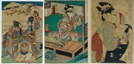 LOT DE 7 ESTAMPES JAPONAISES Par ou d'après Utamaro, Sharaku, Hiroshige II, et