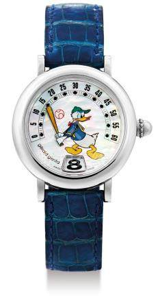 """Gerald Genta, A Stainless Steel Jump Hour Wristwatch with Retrograde Minutes, """"Disney Retro Donald Duck"""" with box, certificate and instruction manual"""