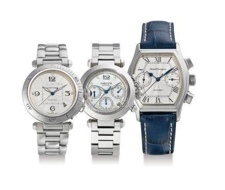 """Cartier and Girard Perregaux, Three Stainless Steel Automatic Wristwatches: Cartier, with Date, """"Pasha""""; Cartier, chronograph """"Pasha"""", """"Girard-Perregaux Chronograph """"Richeville"""" with one Cartier suede pouch"""