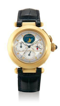 """Cartier, A Yellow Gold Automatic Perpetual Calendar Wristwatch with Moonphases and Leap Year Indication, """"Pasha"""", Case No. MG238055"""