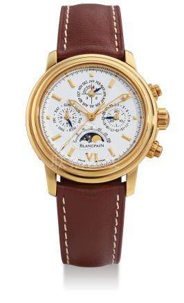 Blancpain, A Yellow Gold Automatic Perpetual Calendar Chronograph Centre Seconds Wristwatch with Moon-Phases