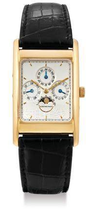 Audemars Piguet, A Gold Rectangular Perpetual Calendar Wristwatch with Moon-Phases, Case No. C89351 No. 182 with Audemars Piguet leather case