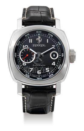 Panerai for Ferrari, A Stainless Steel Cushion-Form Wristwatch with Date, FER00001, F A0608/1000 F6654 BB1210032 with box signed by Schumacher, instruction manual, C.O.S.C Certificate, Spare Rubber Strap, Screw Driver and Guarantee Card