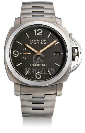 Panerai, A Limited Edition Titanium Automatic Cushion-Form Wristwatch with Date and Bracelet