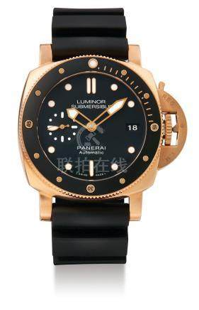 """Panerai, A Pink Gold Automatic Cushion-Form Wristwatch with Date, PAM00684 """"Luminor Submersible"""" No. T037/250, with box and certificate"""