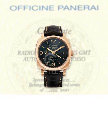 Panerai, A Very Rare Red Gold 10-Day Automatic Dual Time Cushion-Form Wristwatch with Date and Day-Night Indication, Radiomir 1940 GMT, PAM00625, No: R135/150, with box and certificate