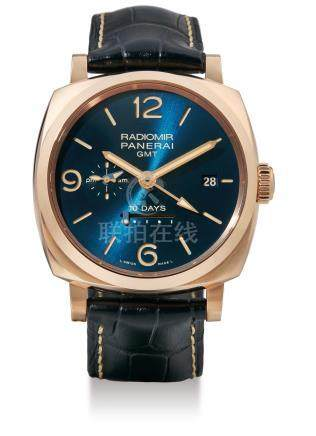 Panerai, A Rare Limited Edition Red Gold 10-Day Automatic Wristwatch with Date and GMT Indication, Radiomir GMT, PAM00659, No. 160/200, Case No: OP7023, with box and certificate