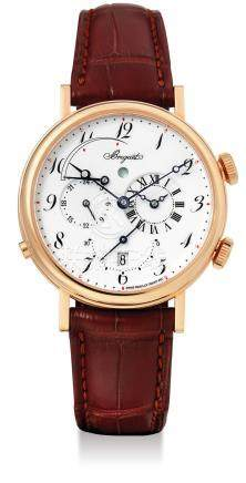 Breguet, A Rare Boutique Limited Edition Pink Gold Automatic Dual Time Wristwatch with Alarm, Date, Power Reserve Indication and Enamel Dial, Classique Alarm Le Reveil Du Tsar, Ref: 5707ER 29 9V6Case No: 5213 BL, with box and certificate