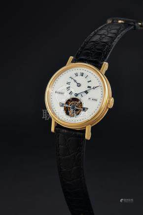 Breguet, A Gold Automatic Tourbillon Wristwatch with Regulator Dial, Ref. 5307, No. 2989, with certificate and box