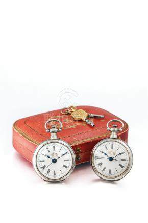 Juvet, A Rare Pair of Small Open-Faced Key Wound Centre Seconds Lever Fob Watches, with Original Presentation Case and Matching Keys, made for the Chinese Market