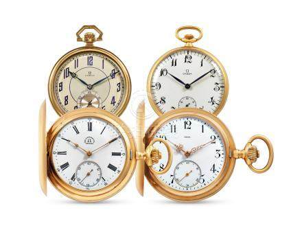 Omega, Two Pink Gold Hunter Case Keyless Pocket Watches, and Two Yellow Gold Open face Pocket Watches