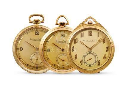 International Watch Co., Three Pre-War Yellow Gold Open-faced Keyless Pocket Watches