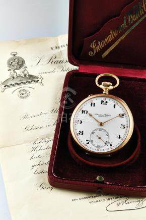 International Watch Co., A Pink Gold Open-faced Pocket Watch with Original Certificate and Presentation Case