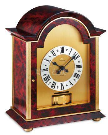 """Jaeger-LeCoultre, A Gilt Brass Atmos Clock, """"Windsor Porphyry"""" Ref. 5825, No. 409460 with inner & outer box, two instruction booklets, blank warranty, marble baseplate"""