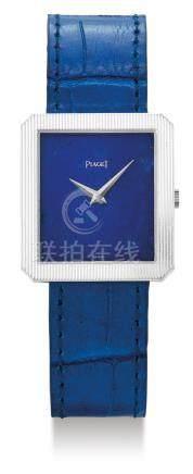Piaget, A White Gold Rectangular Wristwatch with Lapis Lazuli Dial, Case Nos. 9154 290860