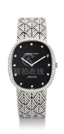 Audemars Piguet, A White Gold and Diamond-Set Oval Automatic Bracelet Watch, Case No. B24981