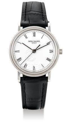 """Patek Philippe, A White Gold Automatic Center Seconds Wristwatch with Date, Ref. 3802/200 """"Calatrava"""", Mvt No. 1910352 Case No. 2921614, with Extract from the Archives"""
