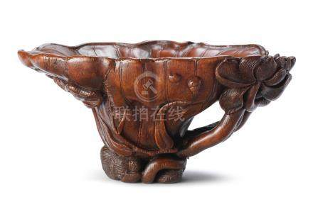 A very rare rhinoceros horn 'lotus-leaf' libation cup 17th/18th century (2)