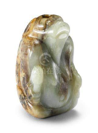 A rare pale green and russet jade figure of a mythical beast Ming Dynasty (2)