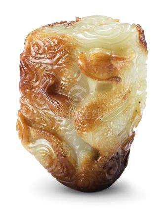A rare yellow and russet jade incense burner 'dragon' finial Ming Dynasty (2)