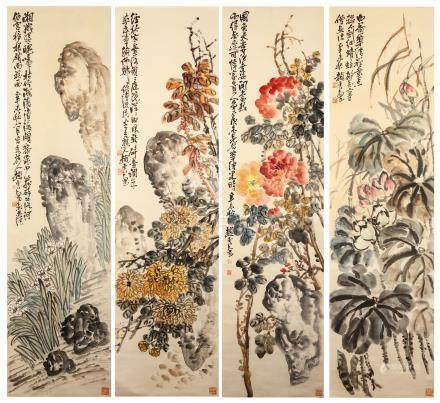ZHAO YUNHE   (1874 – 1955) Flowers Chinese ink and colour on paper, four hanging scroll paintings