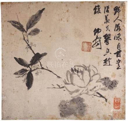 XU WEI   (follower of, 1521 – 1593) Flowering Branch Chinese ink on paper, album leaf painting 30.