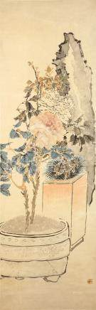REN XUN   (follower of, 1835 – 1893) Flowers and Rocks Chinese ink and colour on paper, hanging
