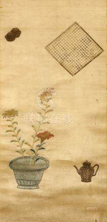 ANONYMOUS Go Board and Counters, Jardinière and Teapot Chinese embroidered silk, hanging scroll 38 x
