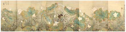 GAO JIANFU   (attributed to, 1879 – 1951) Lotus Pond Chinese ink and colour on paper, eight