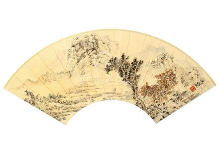 WU HUFAN   (1894 – 1968) Landscape Chinese ink and colour on paper, fan leaf painting 52 x 17cm 吳湖帆