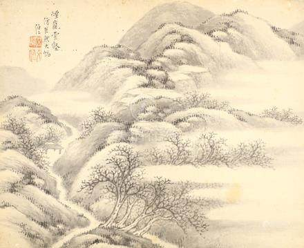 WEN BOREN         (follower of, 1502 – 1575) Landscape Chinese ink on paper, album leaf painting