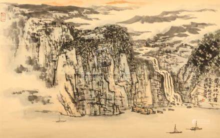 SONG WENZHI   (1919 – 1999) Watery Landscape Chinese ink and colour on paper, hanging scroll