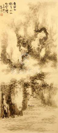JIANG ESHI   (1913 – 1972) Landscape ink on paper, hanging scroll signed Qingshuang, dated Yiwei (