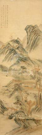 QIAN DU    (attributed to, 1764 – 1844) Landscape Chinese ink and colour on paper, hanging scroll