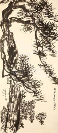 HU PEIHENG   (1892 – 1965) Chrysanthemum and Pines Chinese ink on paper, hanging scroll painting