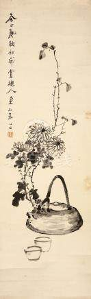 WU DEYI    (attributed to, 1864 – 1927) Chrysanthemums and Tea Chinese ink on paper, hanging
