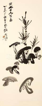 ZHANG DAQIAN   (1899 – 1983) Mushrooms Chinese ink on paper, hanging scroll painting signed Zhang